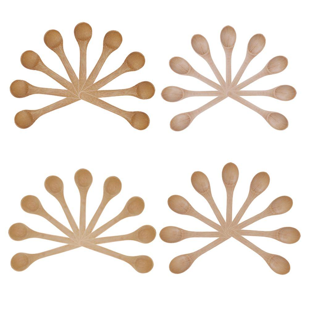 9 teile/satz Holz Runde Bambus Löffel Mini Honig Tee Löffel Gewürz Löffel Eis Küche Kochen Zubehör