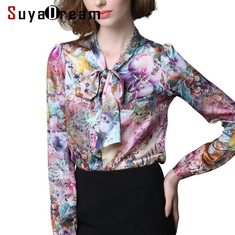 Women Print Blouse REAL Silk Satin Women Blouses Bow tie collar shirt Blusas femininas PLUS SIZE STRETCH 2018 Spring NEW