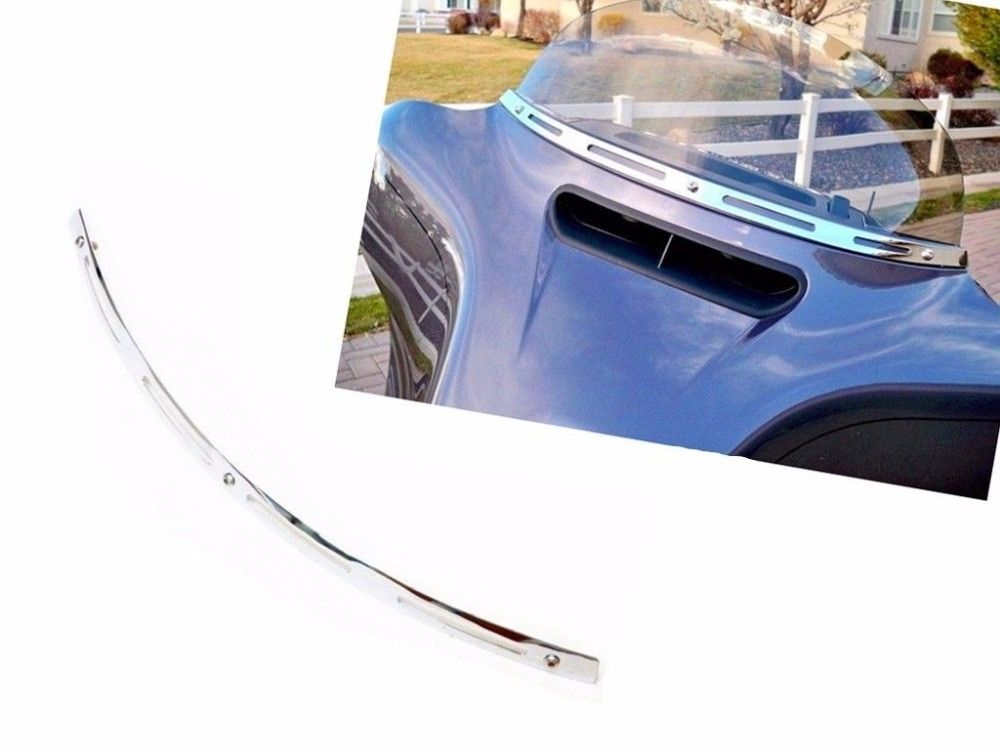 Chrome Slotted Windshield Trim For Harley 1996-2013 Electra Street Tri Glide Touring Bike Touring Bagger Batwing Motorcycle