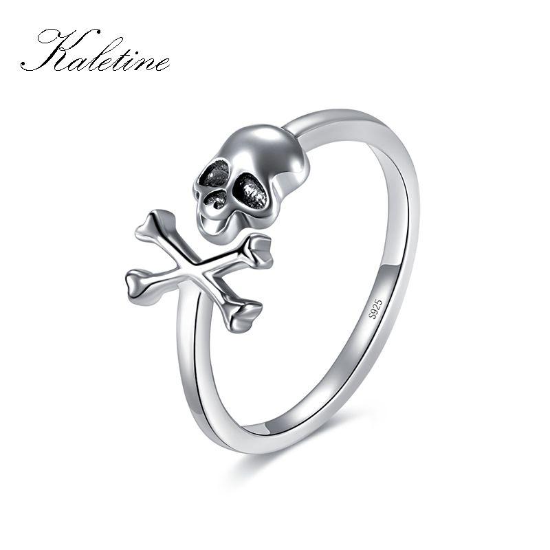 KALETINE 925 bague en argent Sterling crâne Punk squelette pour femme gothique squelette anneaux Vintage oxydé argent bijoux de fantaisie
