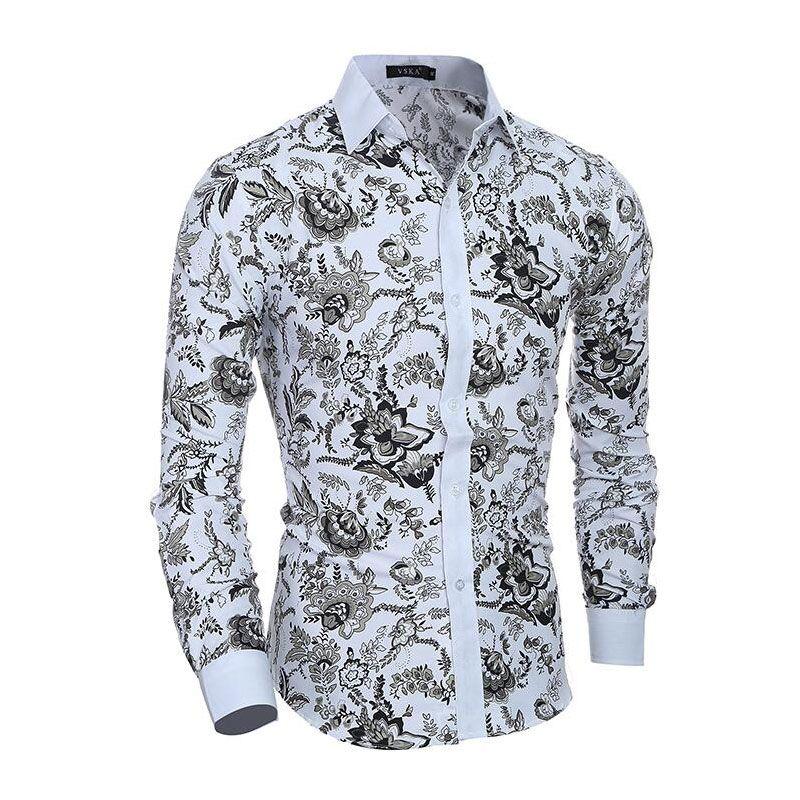 Hommes fleur Chemise 2019 nouveau 3D impression mode décontracté Slim Fit hawaïen robe chemises Camisa Masculina Chemise Homme Chemise hommes