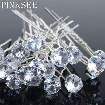 PINKSEE 20 PCS Ronde Cristal Strass Cheveux Pins De Mariage De Mariée Accessoires Cheveux Clip Pour Femmes Bijoux Cadeau En Gros