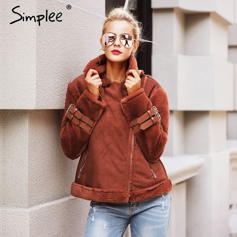 Simplee Faux leather suede lamb fur jacket coat women Moto zipper suede jacket female overcoat Casual turn-down winter coat <font><b>2017</b></font>