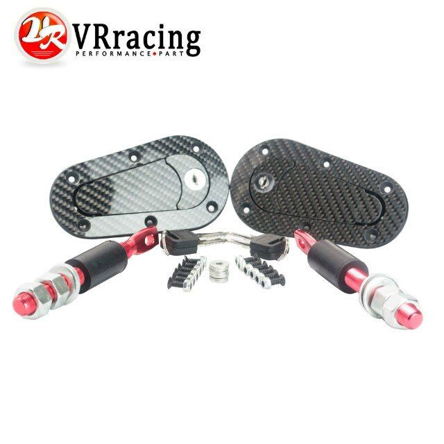 VR RACING - D1 New Universal Racing Lock Plus Flush Hood Latch Pin Kit, Carbon Fiber, JDM style with key VR-BPK-D41
