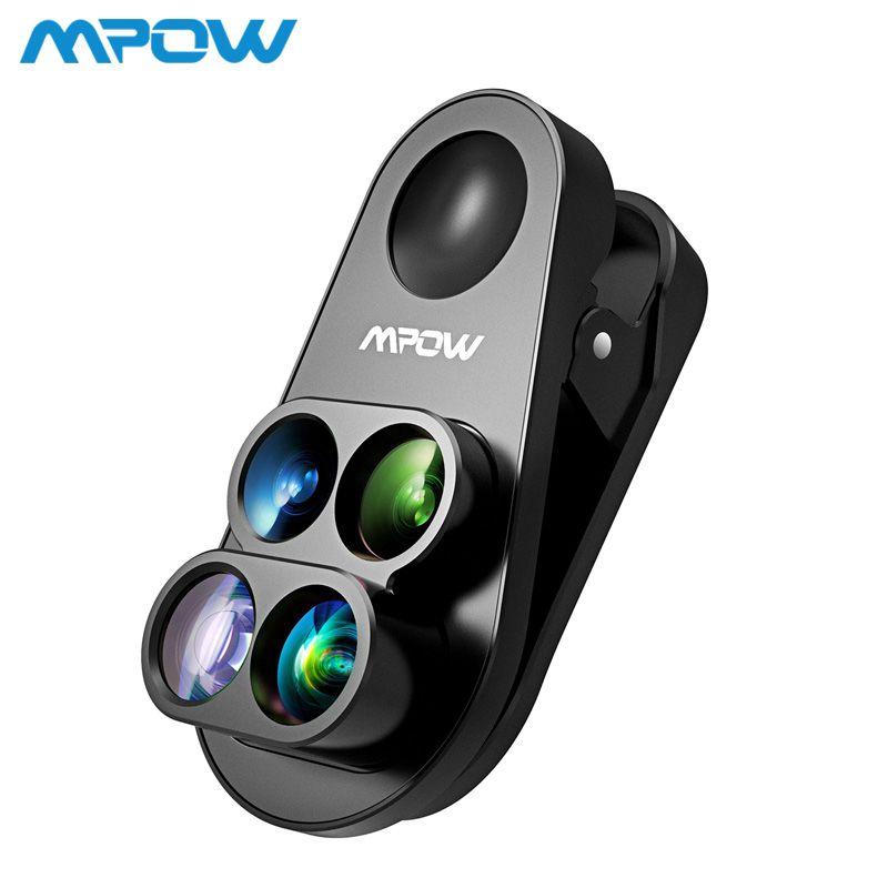 Mpow 4 dans 1 Clip-sur Caméra Double Lentille Kit 0.65X Grand Angle Fish Eye 10X Macro Lentille 1.5X téléobjectif Pour iPhone 8 7 6 6 s/plus