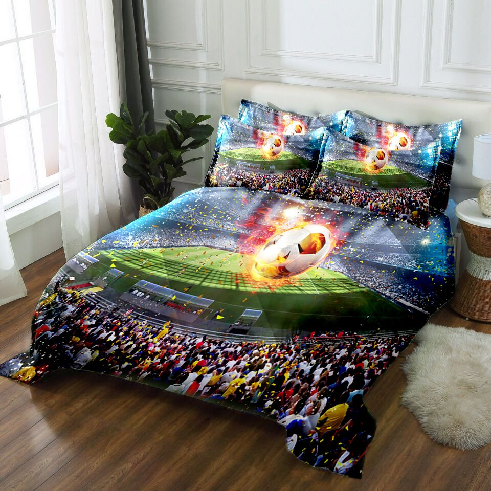 Luxury California king 3D bedding set Twin Full king Queen bedsheet Duvet bed cover Pillowcase Bed Linen Football match pattern