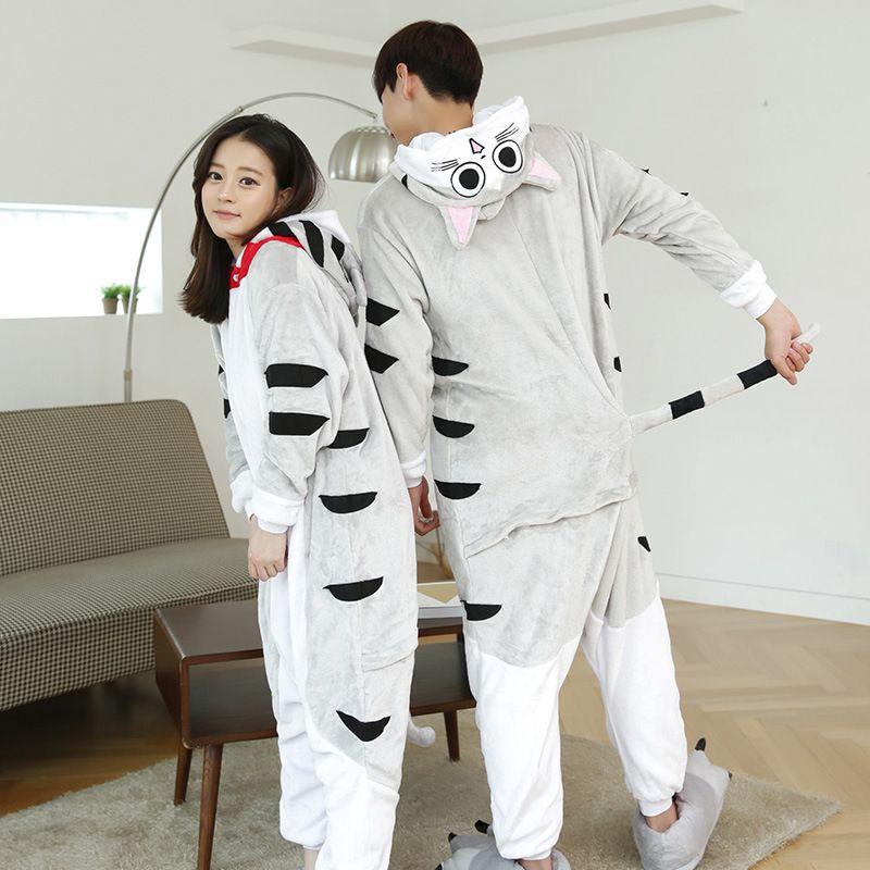 Female Mink Fleece Nightgown Girls Men Home Furnishing Siamese Cat Winter Pajamas Cartoon Animal Lovers Convenient Toilet