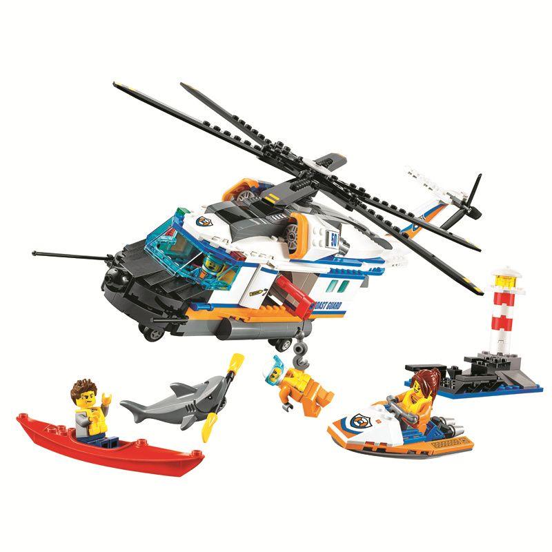 Bela City 448pcs Coast Guard Heavy-Duty Rescue Helicopter building blocks bricks toys for children 60166 Compatible Legoe Giftse