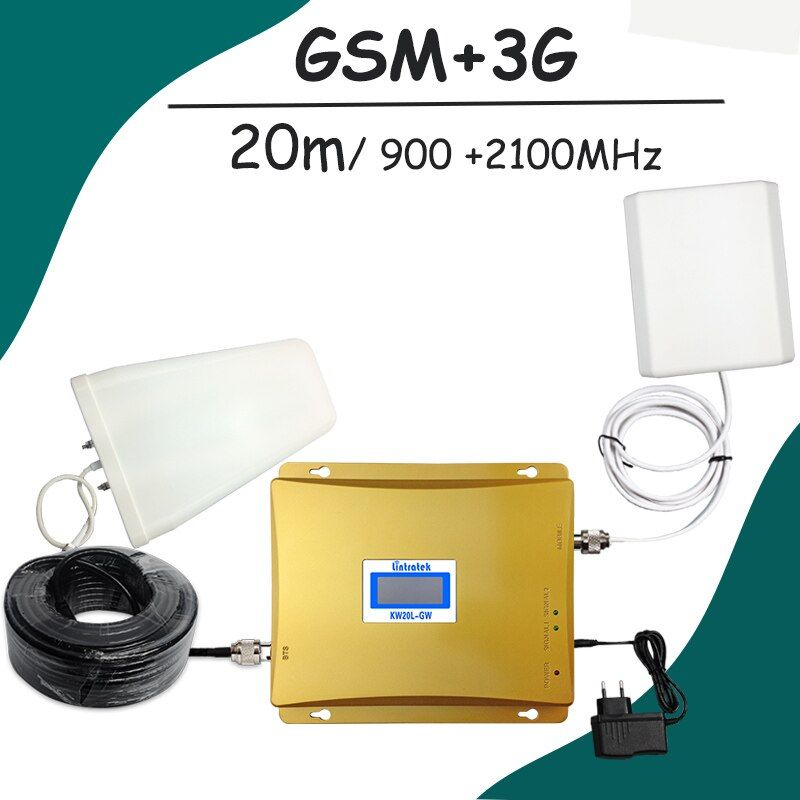 LCD-Display GSM 900 mhz 3G 2100 mhz Dual-band-handy-signal-verstärker GSM Repeater 65dB 900 UMTS 2100 Handy Booster celular verstärker