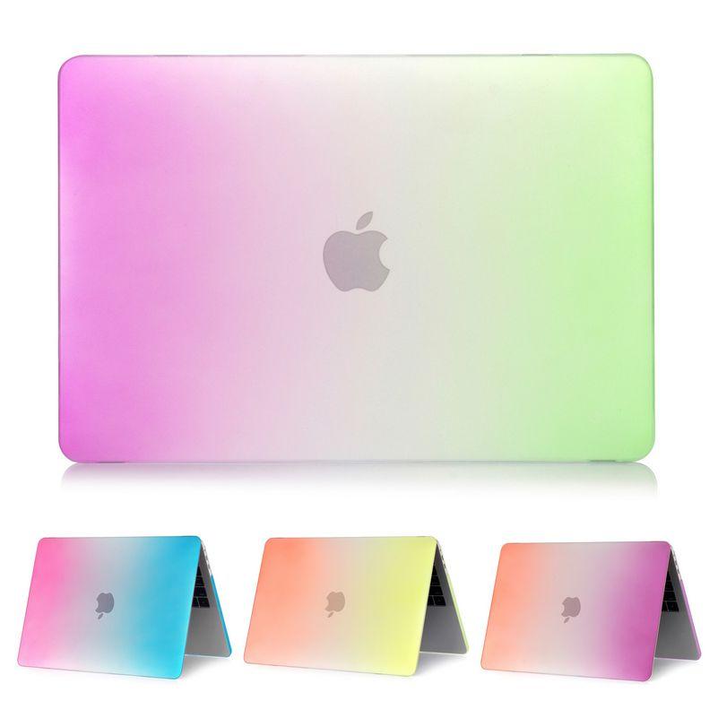 Pour Apple MacBook Air Pro Retina 11 12 13 15 mac Book 15.4 13.3 pouces avec barre tactile arc-en-ciel dégradé givré étui rigide