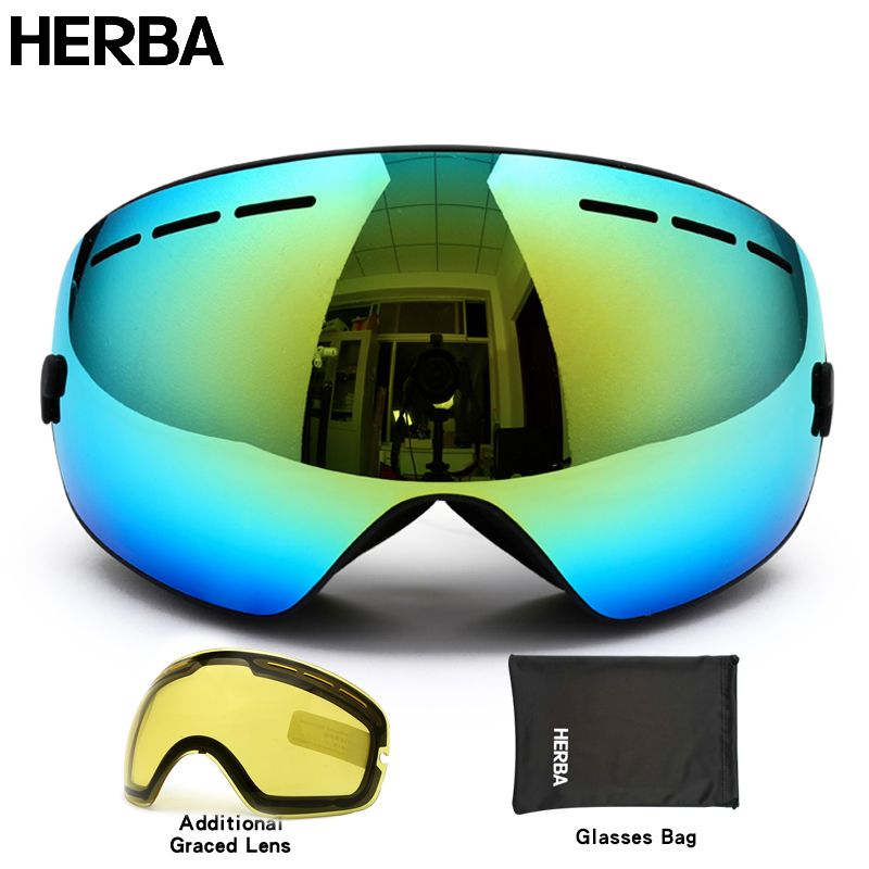New HERBA  brand ski goggles double UV400 anti-fog big ski mask glasses skiing men women snow snowboard goggles HB3-2