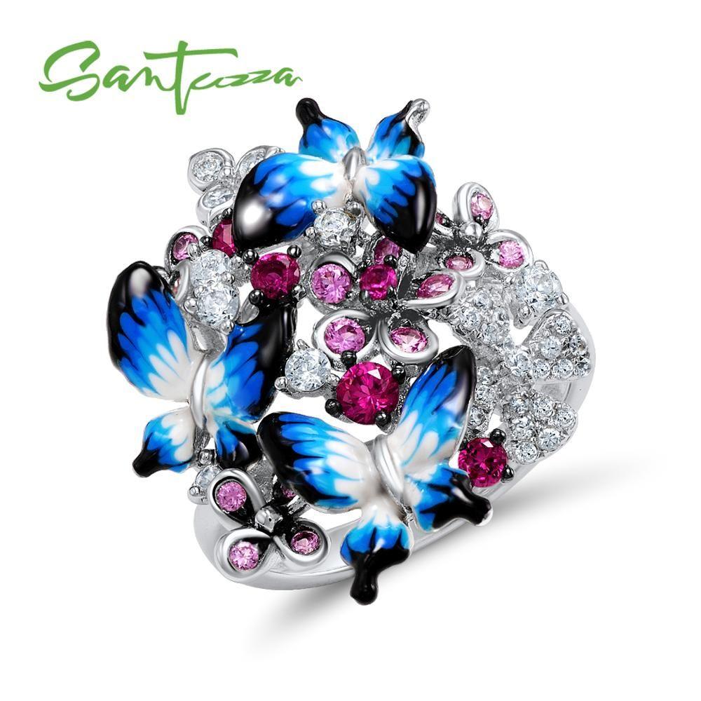 SANTUZZA bague en argent pour femmes 925 argent Sterling glamour papillons brillant cubique zircone anneau mode bijoux émail