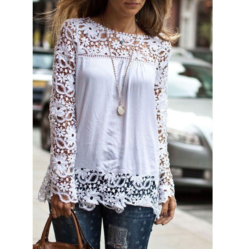 New 2016 Fashion Women Ladies Vintage Chiffion Blouses Shirts Long Sleeve Tops Blusas haut dentelle Lace Blouse chemise femme