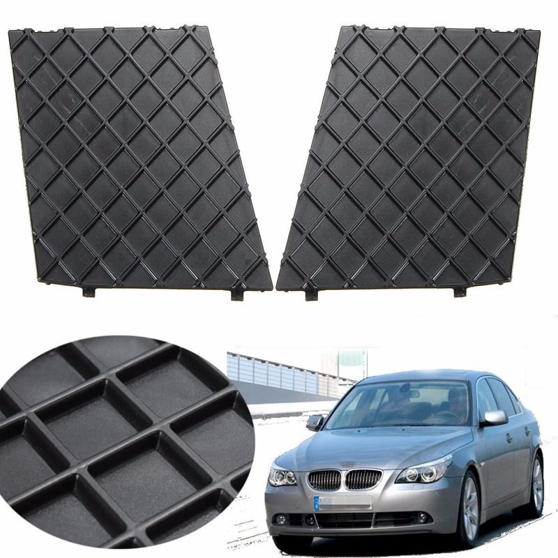 Black Front Bumper Lower Mesh Grill Trim Cover Pair Left Right For BMW E60 E61 M Exterior Accessories Replacement Parts