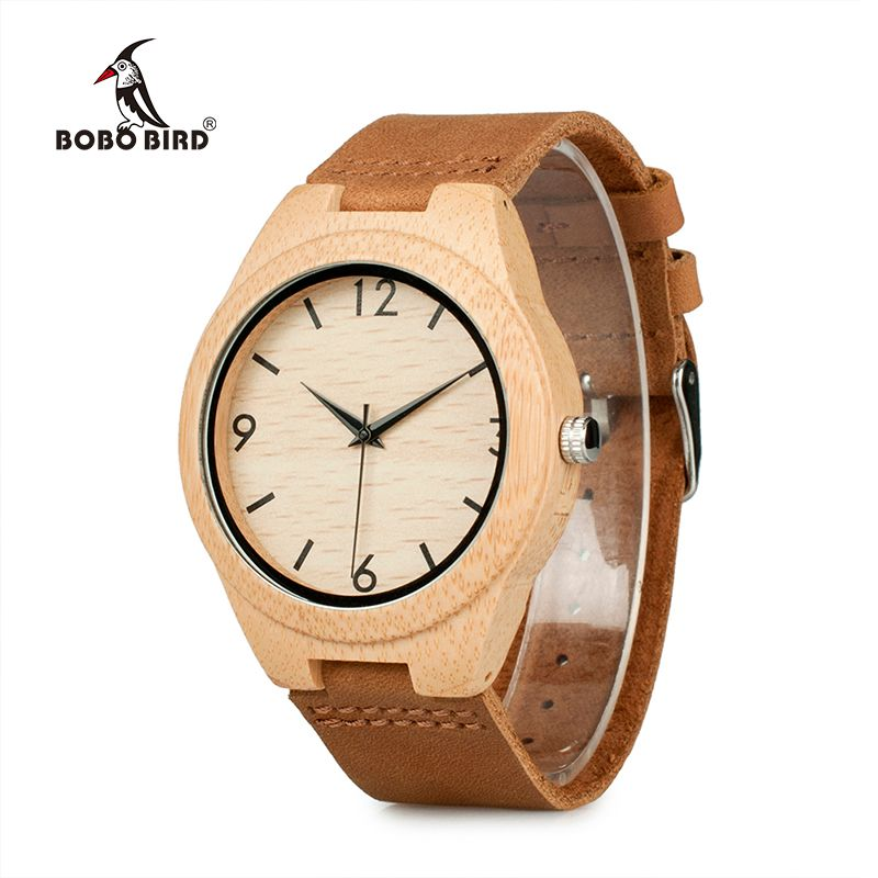 BOBO BIRD WA31A32 Bamboo Wooden Watches for Men Women Number <font><b>Scales</b></font> Leather Band Lovers Quartz Watch