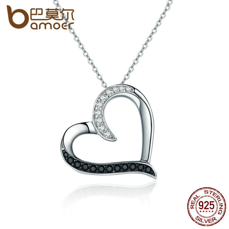 BAMOER 100% Authentic 925 Sterling Silver Classic Heart Clear CZ Pendant Necklaces Women Fashion Jewelry Engagement SCN088