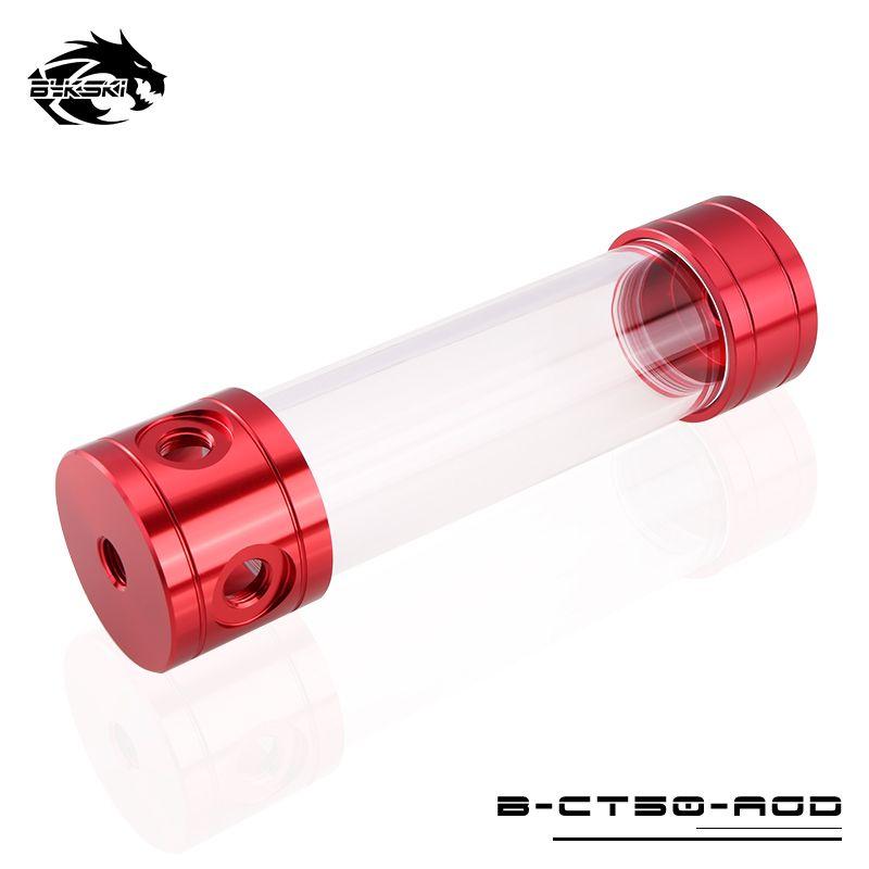 BYKSKI 150/200/260mm X 50mm diamètre réservoir d'eau cylindrique en alliage d'aluminium liquide de refroidissement + acrylique G1/4 réservoir rouge/bleu/vert