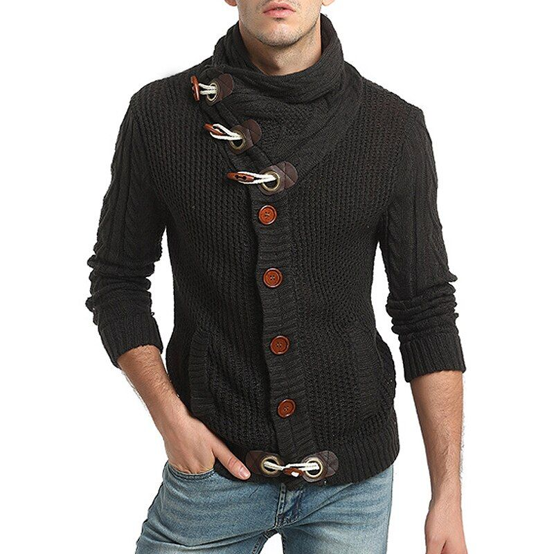 Sweater Pullover Men 2018 Male Brand Casual Slim Sweaters Men Horns Buckle Thick Hedging Turtleneck Men'S Sweater
