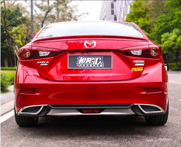JIOYNG ABS REAR TRUNK LIP SPOILER DIFFUSER EXHAUST BUMPER PROTECTOR COVER FOR MAZDA 3 M3 Axela 2014 2015 2016 2017 2018