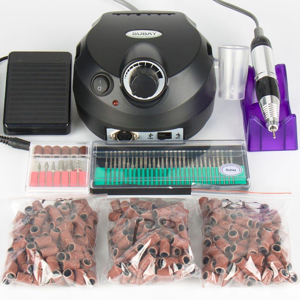 Electric Professional Nail Drill Machine Manicure Pedicure Pen Nail Tool 30pcs nail drill bit 300pcs Nail sanding bands