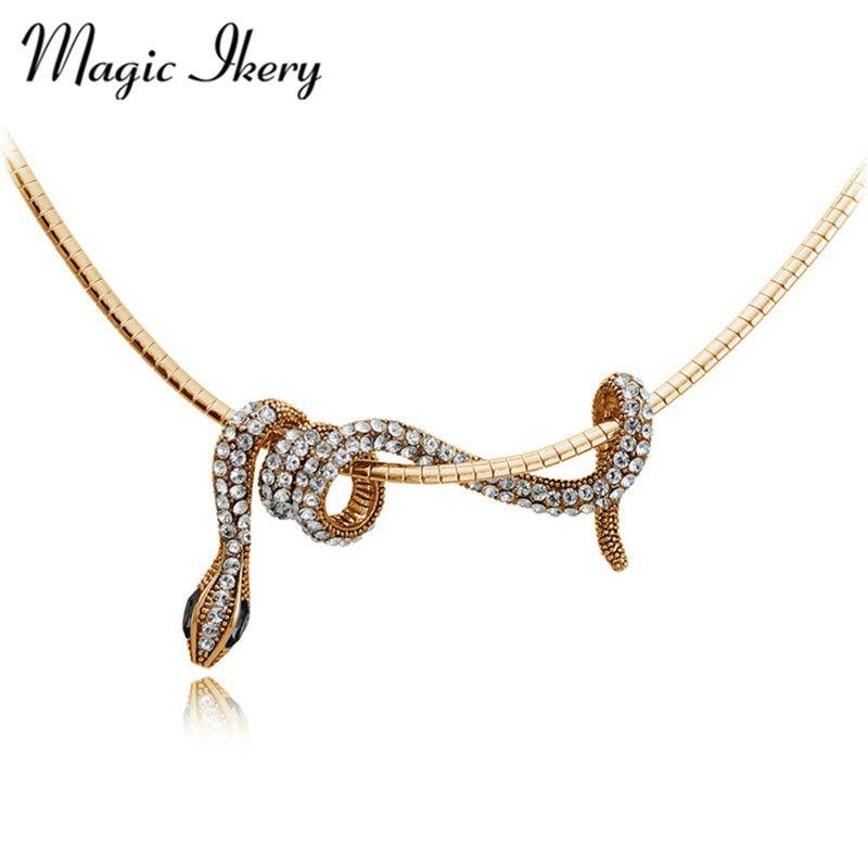 Magie Ikery Couleur Or Longue Animal Serpent Collier Pendentifs Bijoux De Mode pour Les Femmes Déclaration bijoux de Fête MKY2965
