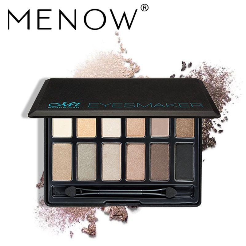 Menow Marca 12 Colores Mate Paleta de Sombra de Ojos Duradero Resistente Al Agua Ahumado Maquillaje Brillo sombra de ojos Cosmético E16003