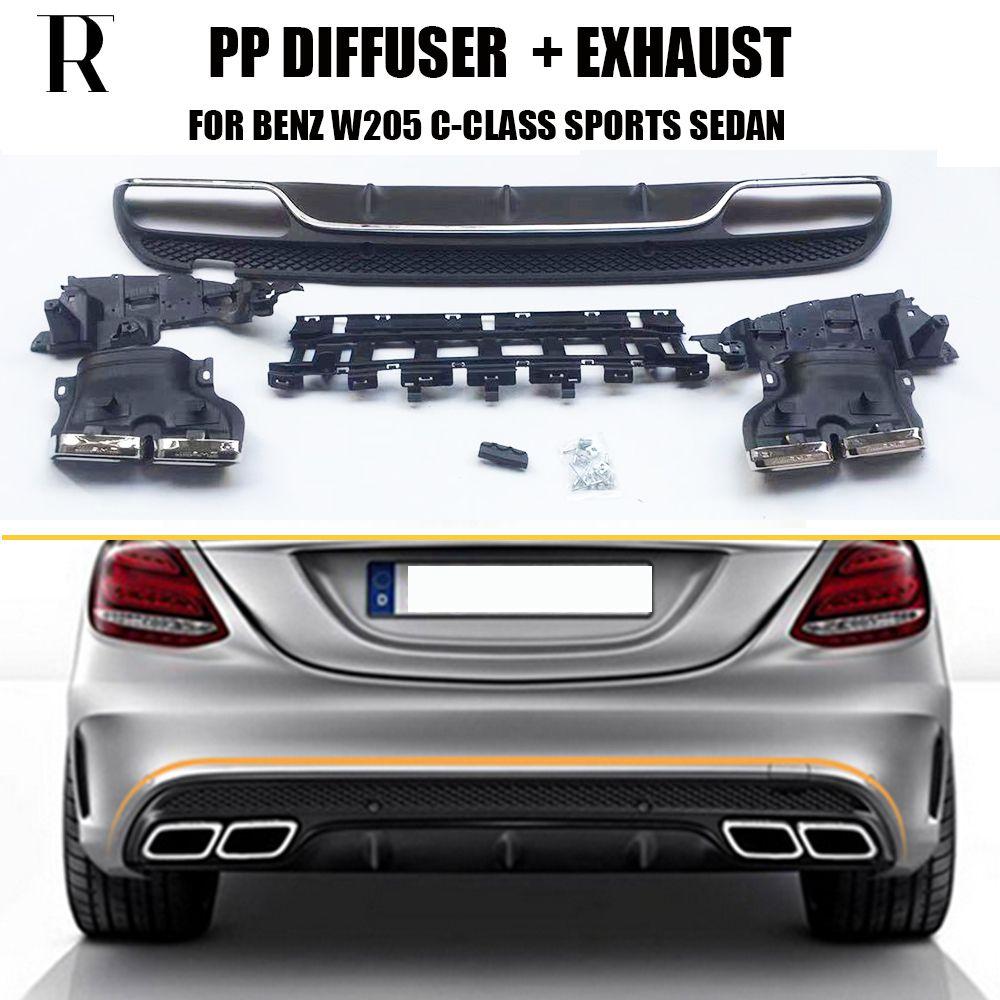 C63 Stil 4 Outlet PP Hinten Diffusor mit Auspuff Tipps für Benz W205 Limousine S205 Wagon C180 C200 C300 C43 mit Amg Paket 15-22