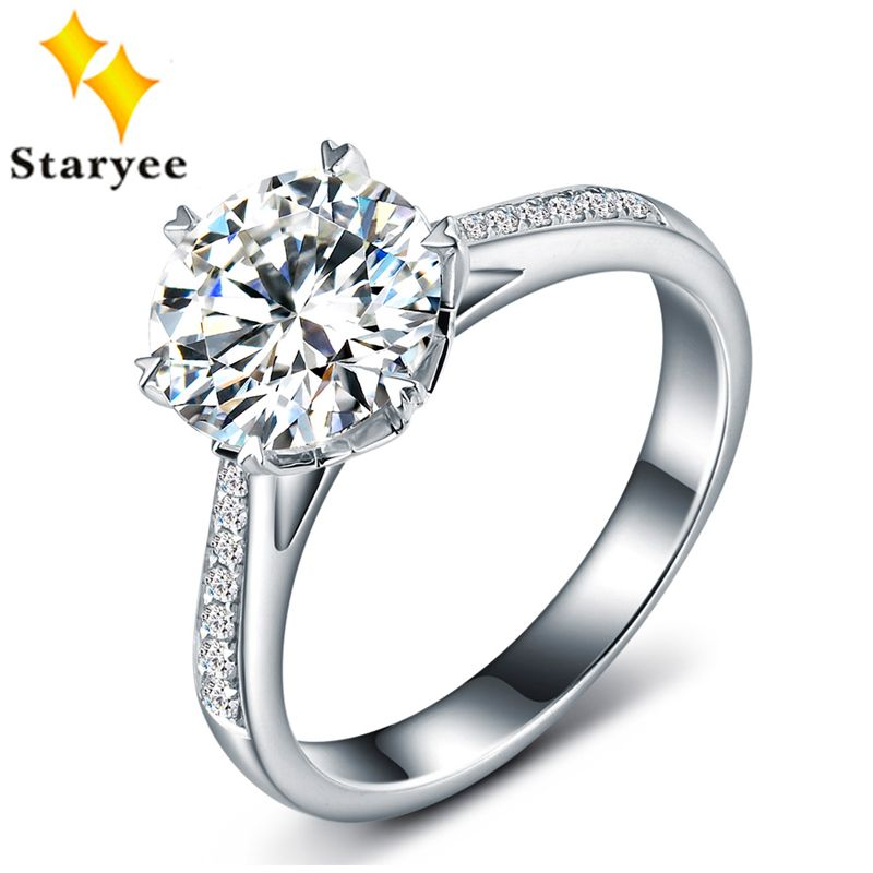 Certified One Carat Forever One Moissanite Jewelry Pure 18K White Gold Natural Diamond Women Wedding Engagement Rings