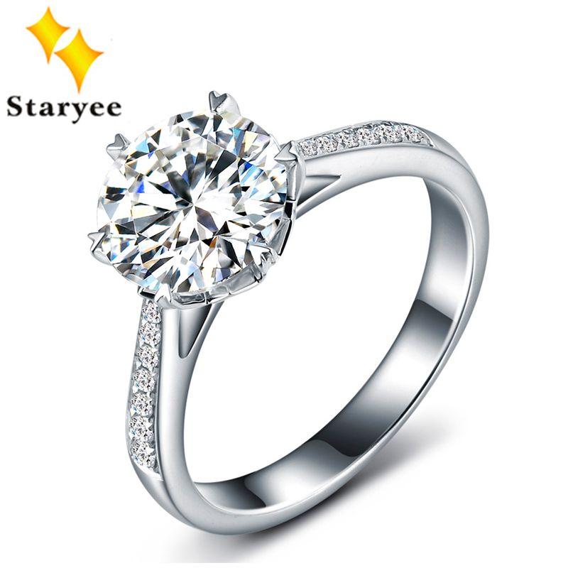 Zertifizierte Einem Karat Für Immer Eine Moissanite Schmuck Reine 18 Karat Weißgold Natürlichen Diamanten Frauen Hochzeit Verlobungsringe