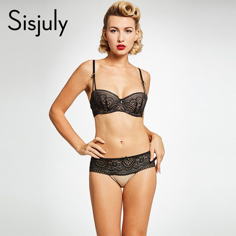 Sisjuly women brief sets black lace underwire half cup bras push up three hook-and-eye non-adjusted straps bras sexy brief sets
