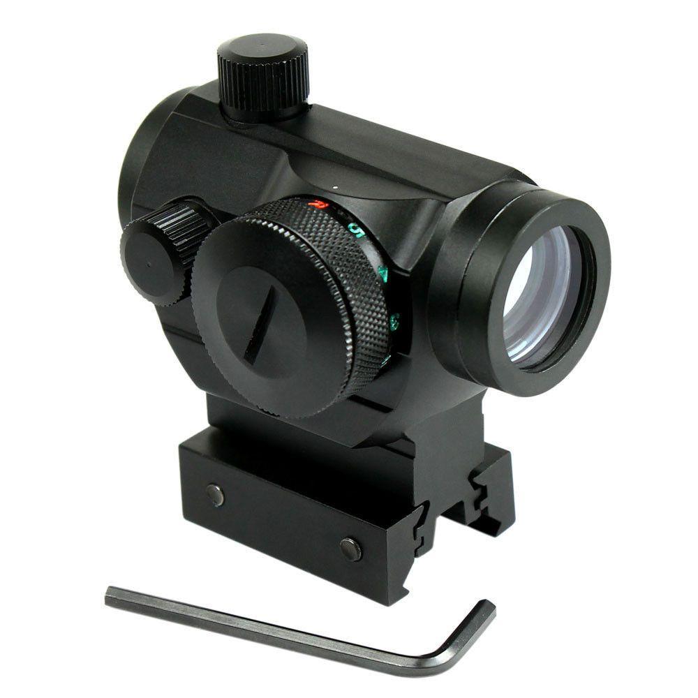 Caza Visores Airsoft Tactical Reflex Red Green Dot Sight Scope Óptico w/Doble Perfil 20mm Alcance Rail Aim la Caza de Chasse