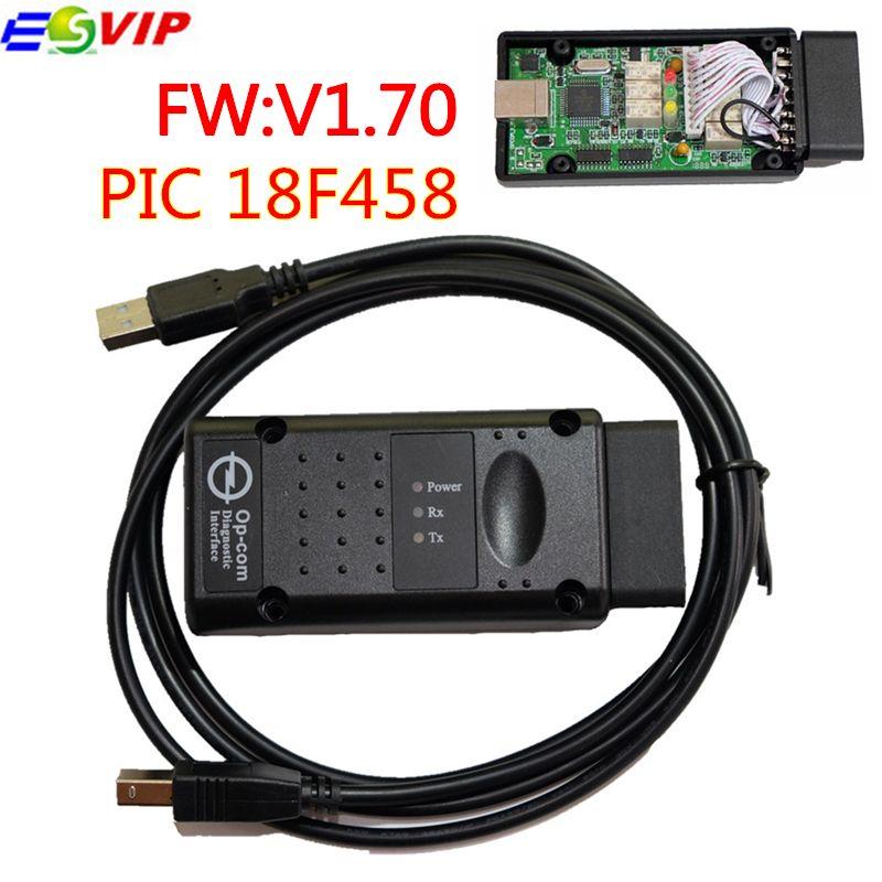 Lowest Price V1.70 with PIC18F458 Opcom Op-com Auto Car Diagostic Tool O-pel Opcom OP COM OBD2 CAN BUS Interface SW 120309A