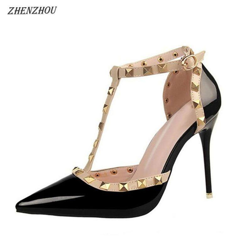 Free shipping shoes woman 2018 Summer Women's shoes fashion female sandals rivet Metal decoration pu leather women high heels