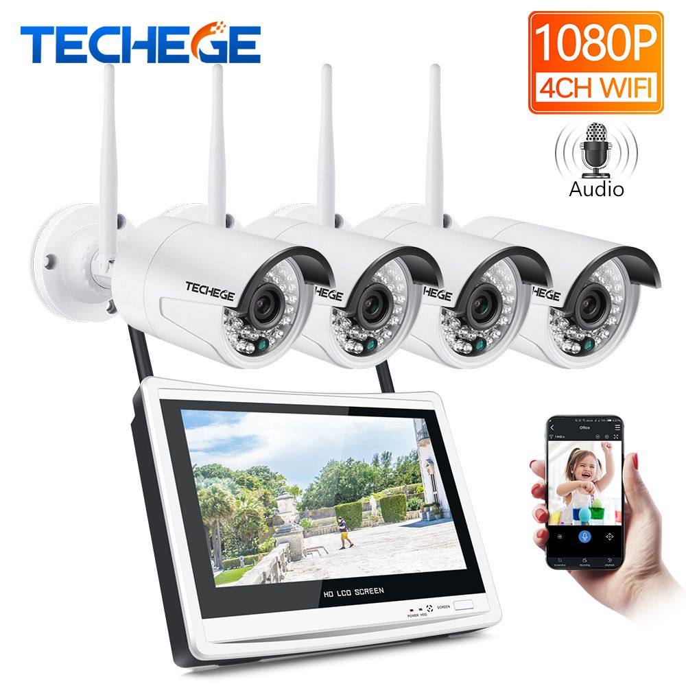 Techege 4CH Wireless 1080P NVR Kit HD 2.0MP Wireless CAMERA 4CH wifi NVR 12