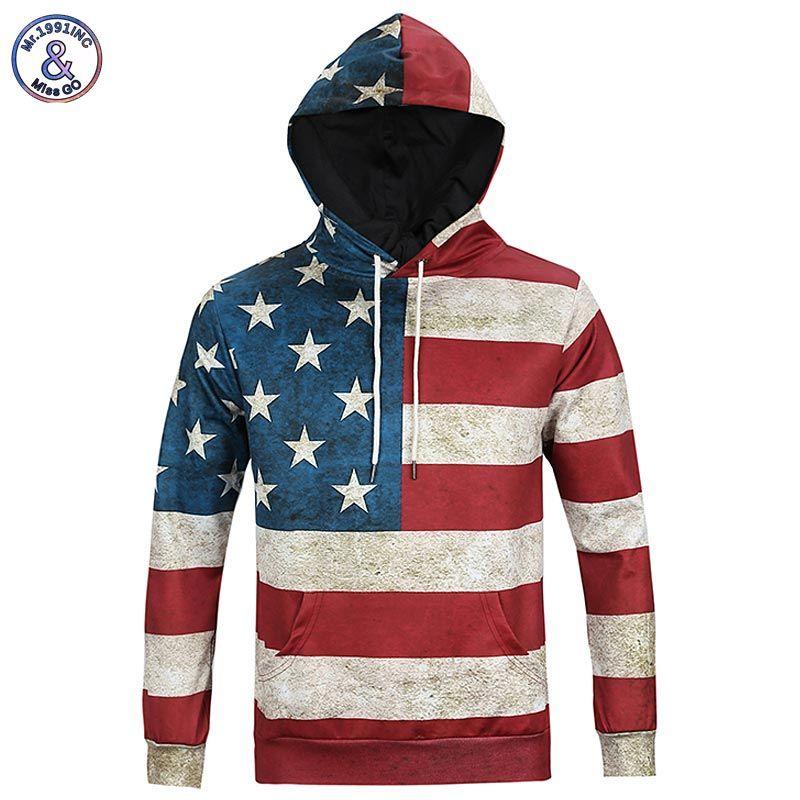Mr.1991INC North America Fashion Men/women 3d Sweatshirts Print USA Flag Stars Stripped Hoody Hoodies With Cap Hooded Tops
