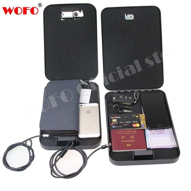 WOFO Car Safes Handgun Cash Jewelry Jewelery Box Safe Vault Security Safes Key Lock Passwords Box 24*16.5*4.5CM