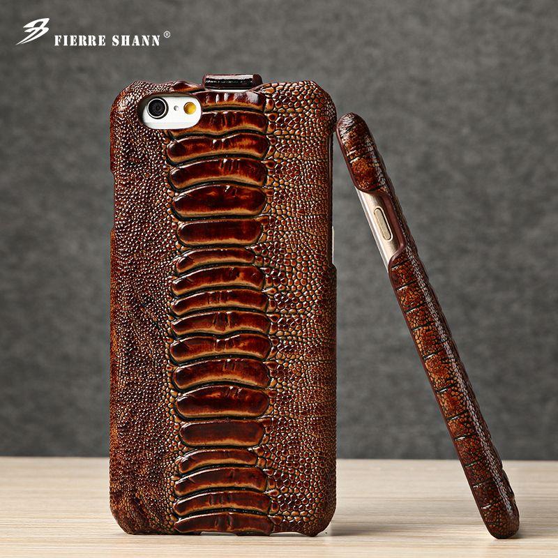 De luxe Marque En Cuir Véritable Étui de Téléphone Coque pour iPhone 8 7plus 6 6 s pour Samsung Galaxy S8 Plus motif Crocodile Couverture Arrière