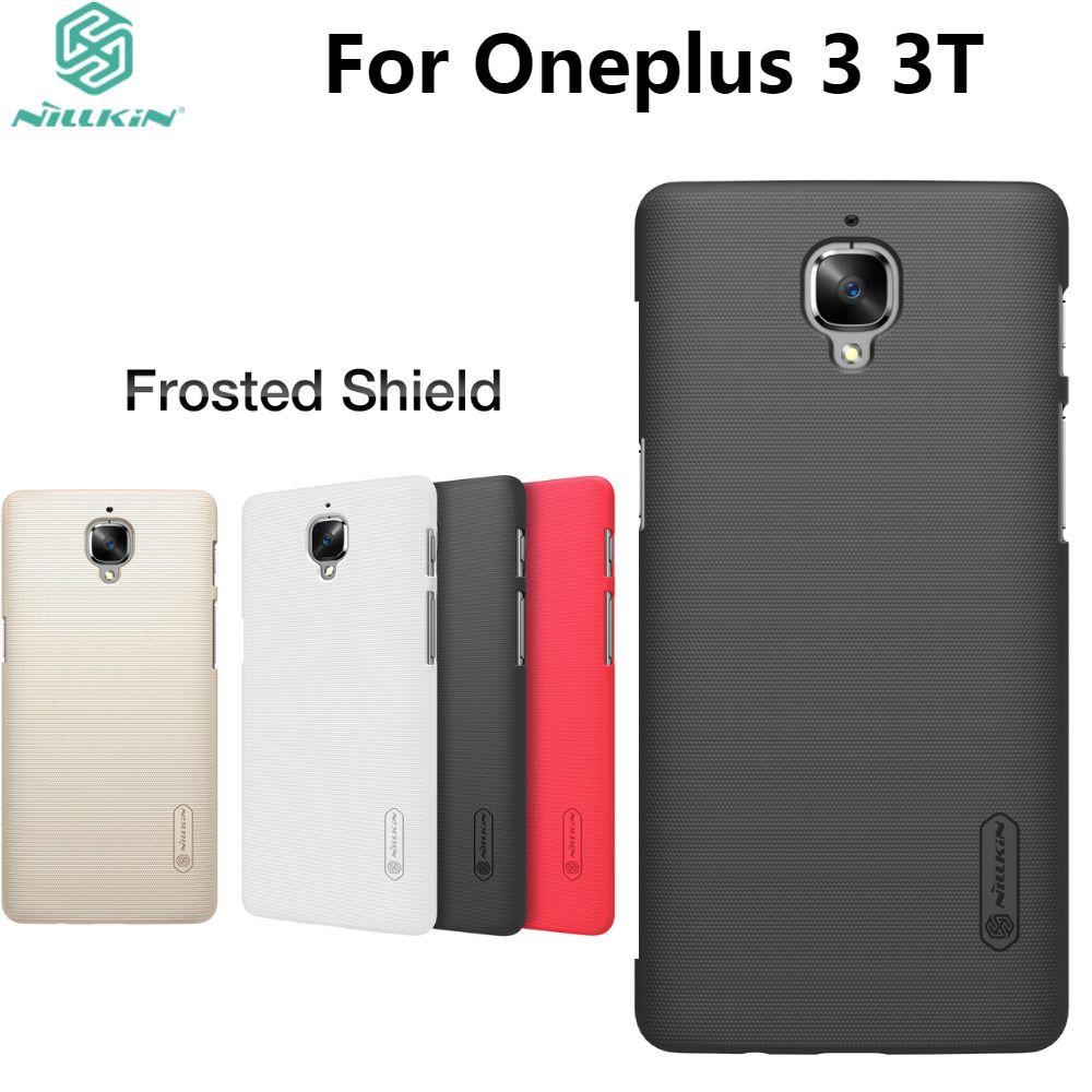 One plus 3 cas Oneplus 3 couverture NILLKIN Super givré bouclier couverture arrière rigide pour Oneplus 3 Oneplus 3 T avec emballage au détail + cadeau