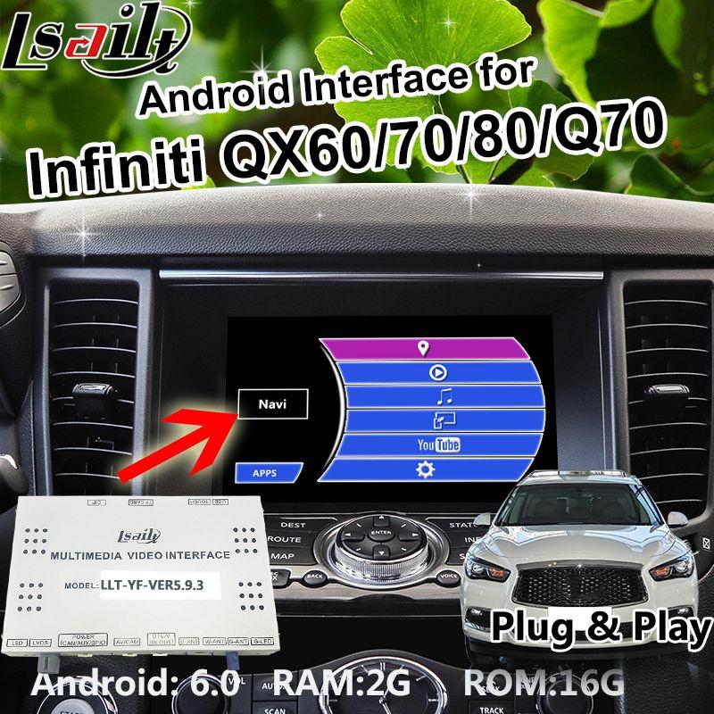 Android 6.0 GPS navigation Box for 2014-2018 Infiniti QX60/70/80/Q70 video Interface with WIFI waze Mirrorlink OEM Knob Control