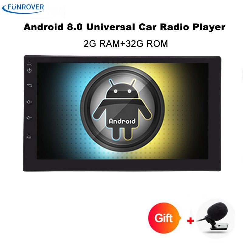 Funrover 7 2 Din Android 8.0 Car Radio Universal GPS Navigation Bluetooth Autoradio <font><b>Stereo</b></font> FM Audio No DVD 110mm size one din