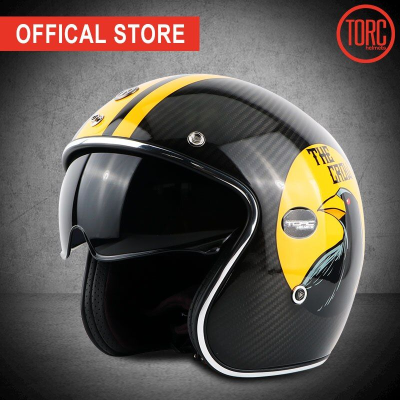 TORC carbon fiber motorcycle helmet vintage open face helmet vespa motorbike motocross jet retro capacete inner visor moto ECE