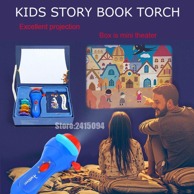 Mini Projector Torch Educational Light-up Toys Kids Flashlight Story book Sleep Light Projection Lamp led Fairy Tale Perform set