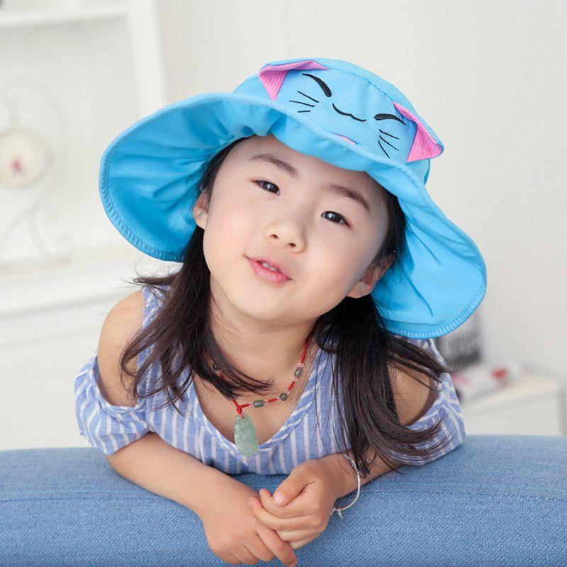 Pour les enfants âgés de 3-8 ans d'été Anti-UV grands avant-toit chapeaux de plage réglable taille de tête filles chapeau de soleil mignon dessin animé chat chapeaux vides