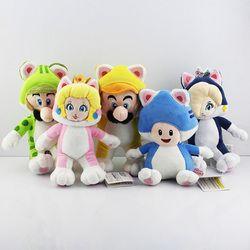 5 Pcs/lot Super Mario 3D Tanah Kucing Mario Luigi Toad Princess Peach Rosalina Boneka Mainan Mewah