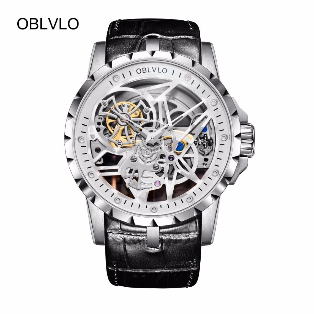 OBLVLO Luxury Open Work Design Mens Watches Skeleton Dial Calfskin Strap Steel Watch Automatic Movement Waterproof RM-1