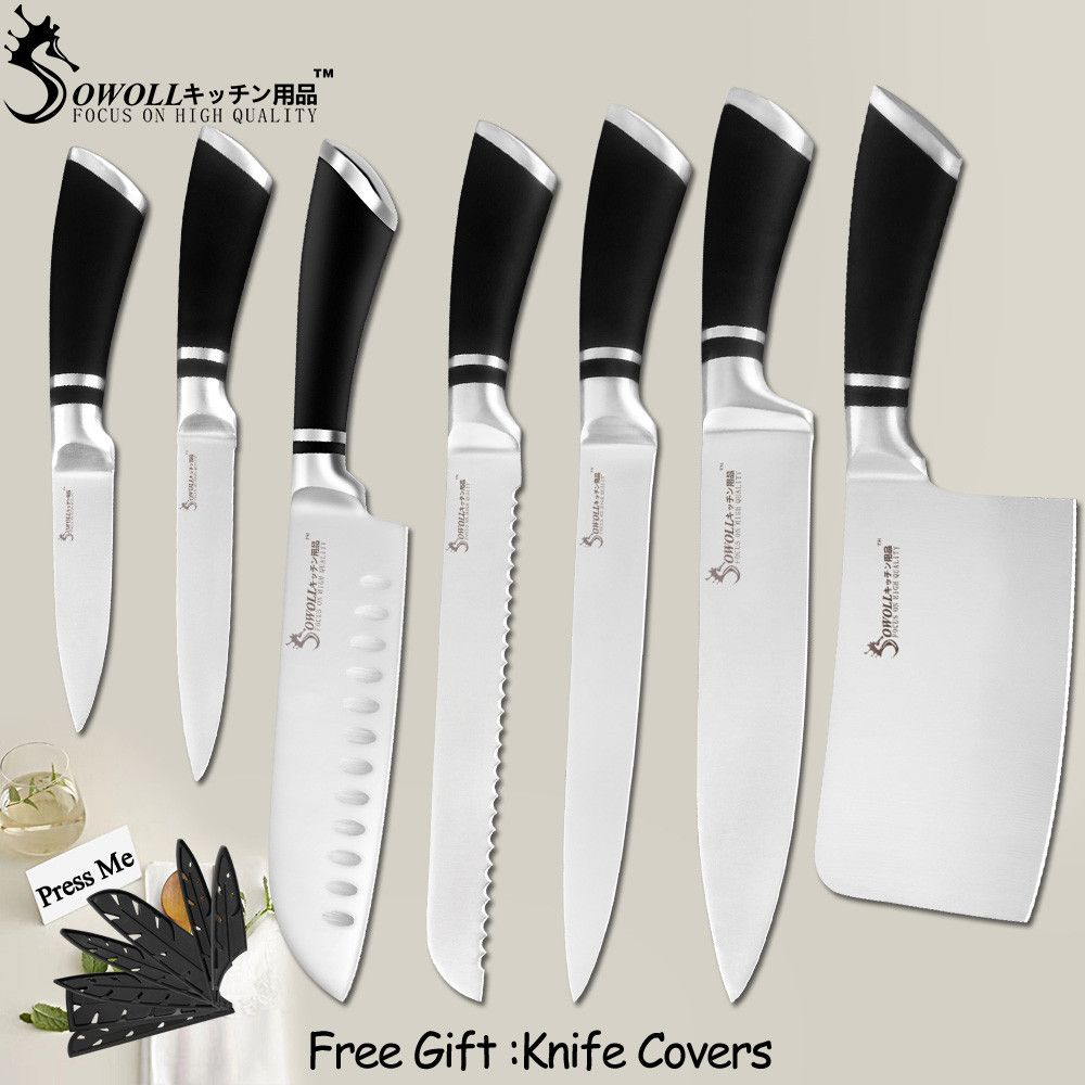 SOWOLL couteaux de cuisine en acier inoxydable couteaux de séparation utilitaire Santoku pain tranchage Chef couteau à découper accessoire de cuisine outils