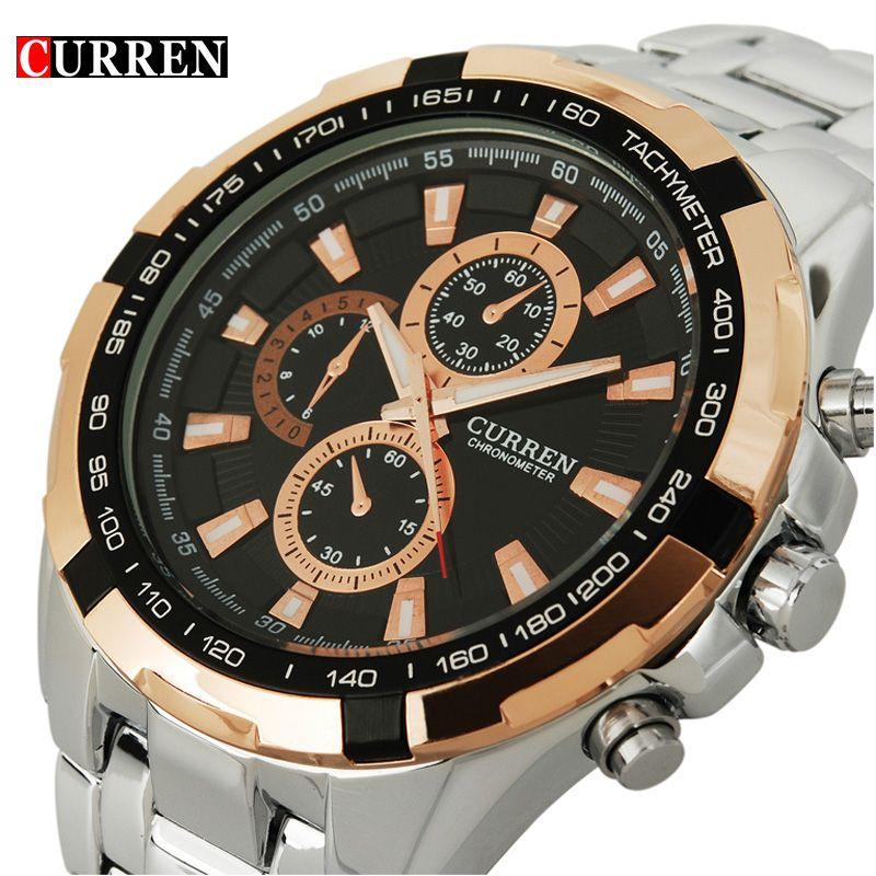 2017 marca Curren moda cuarzo hombres reloj de acero completo reloj de hombre Relogio masculino reloj casual