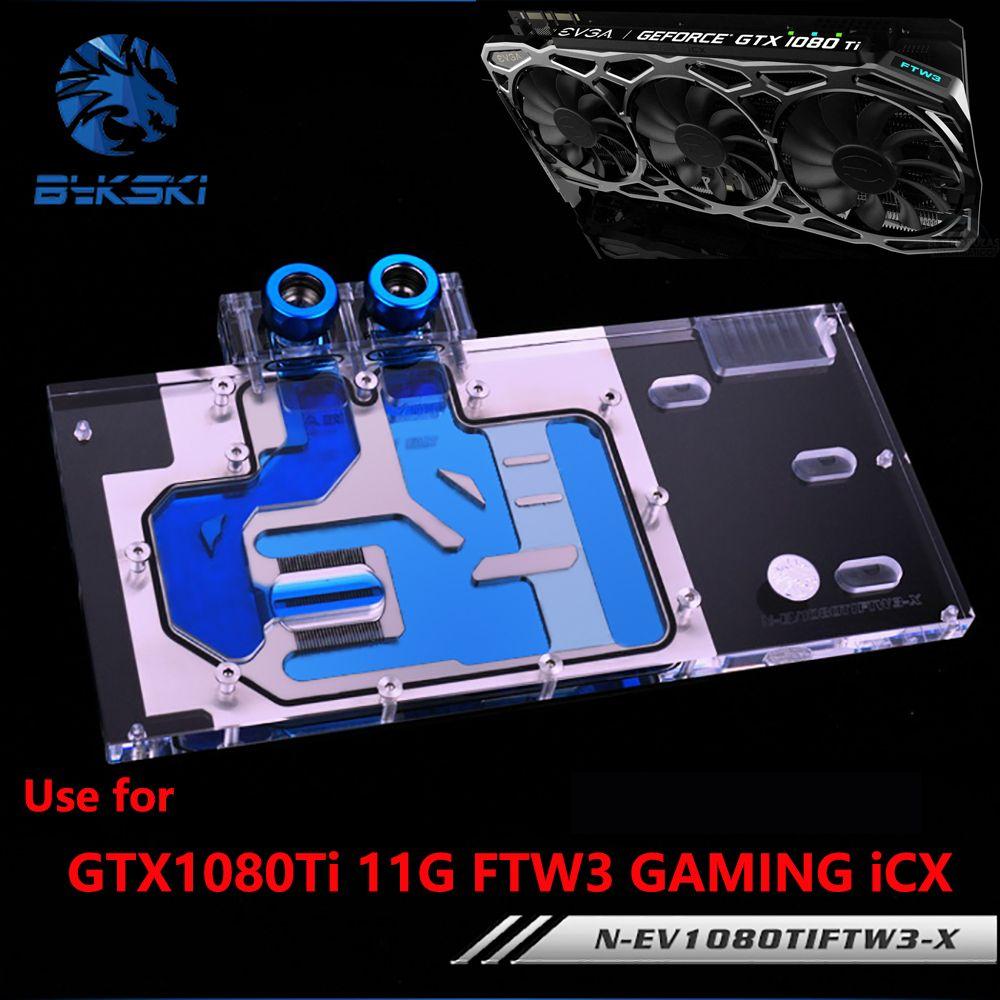 BYKSKI Full Cover Grafikkarte Wasserkühlung Kühler Block verwenden für EVGA GTX1080Ti 11G FTW3 GAMING iCX mit RGB Kupfer kühler