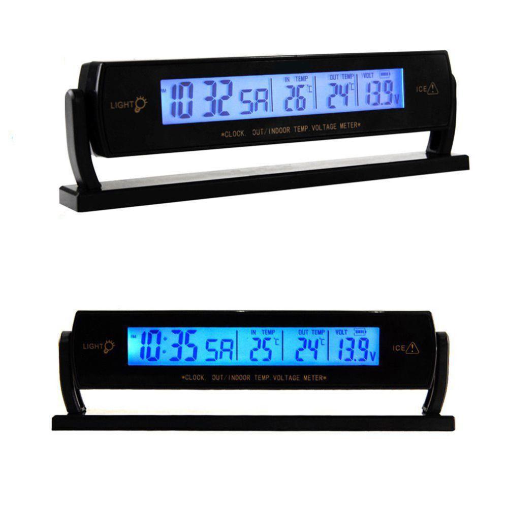 2017 Auto Black Car Clock Voltage Digital LCD Car Temperature Thermometer Alarm Clock New Drop Shipping Wholesale#