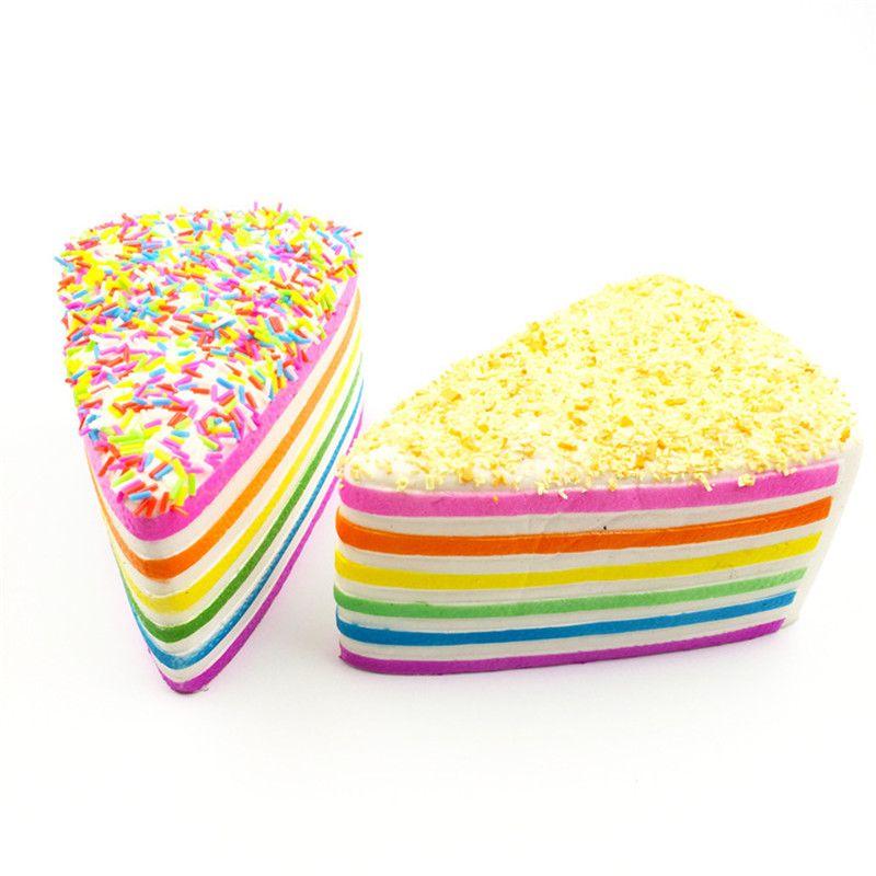 jumbo Rainbow Cake Decorated Squishies Crumble Fusion Kawai Slow Rising Simulation Wedding Photography Fondant cake Straps